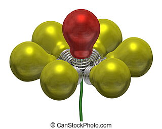 Flower of yellow and red light bulbs on green wire isolated...