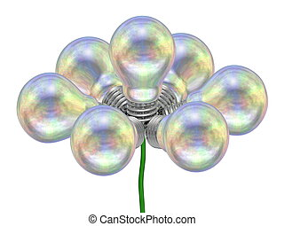 Flower of pearl light bulbs on green wire isolated on white...