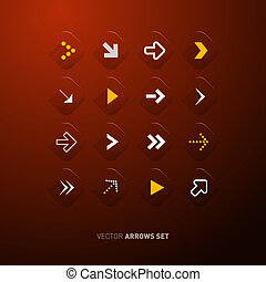 Vector Arrows Set Isolated on Dark Red Background