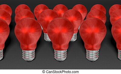 Group of red reflective light bulbs on grey textured...