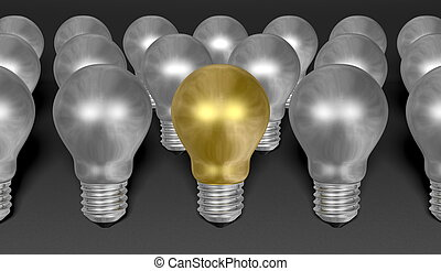 One golden light bulb among many silver ones on grey textured background
