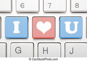 I love you on keyboard - A computer keyboard with keys...