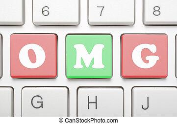 Omg on keyboard - A computer keyboard with keys spelling...