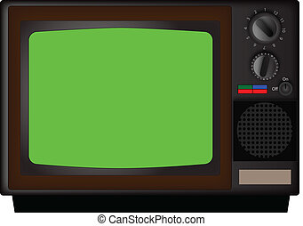 vintage tv - vintage color tv with a green screen