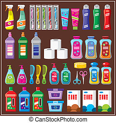 Set of household chemicals