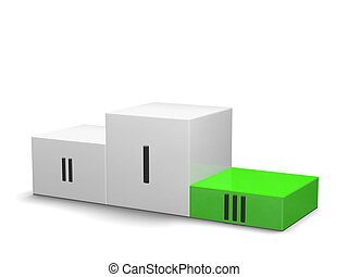 Sports victory podium with green cube for third place and black Roman numerals