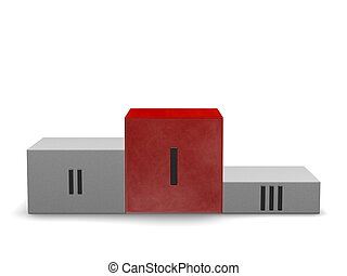 Sports victory podium with reflective smoky red cube for...