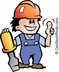 Happy Mechanic or Handyman - Hand-drawn Vector illustration...