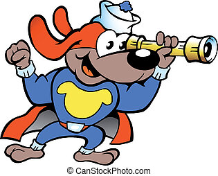 Super Hero Sailor Watch Dog - Hand-drawn Vector illustration...