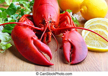 boiled lobster and lemon