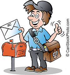 illustration of an Happy Postman - Hand-drawn Vector...