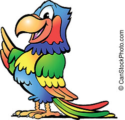 Happy Colorful Parrot - Hand-drawn Vector illustration of an...