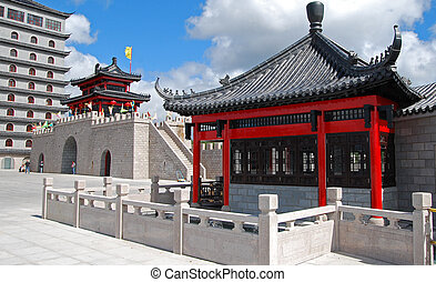 Chinese style architecture and blue sky