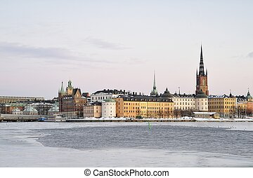 Stockholm - The island Riddarholmen in central Stockholm in...