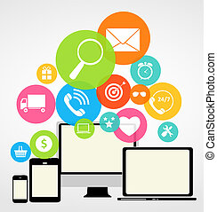 Business Internet on Different Electronic Devices Concept...