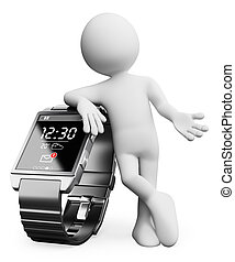 3D white people. New technologies. Smart watch - 3d white...