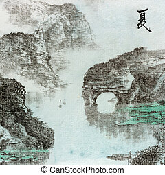 summer landscape - Chinese traditional ink painting,...