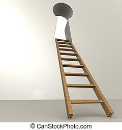 escada, buraco fechadura