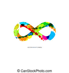 Colorful Abstract Splash infinity symbol on White Background