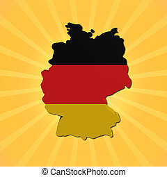 Germany map flag on sunburst illustration
