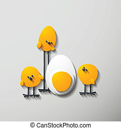 Easter chicks, 3D style, in the form of layers of paper or...