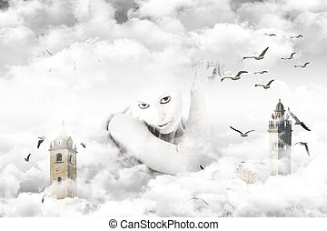 Magical journey through the clouds - Woman in an imaginative...