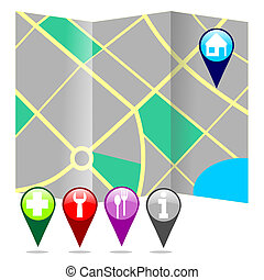 City map with markers vector