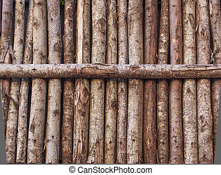 Wooden palisade - Medieval palisade stakewall fence wall...