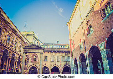 Retro look Milan Italy - Vintage looking View of the city of...