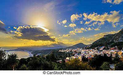 Sunrays over Taormina, Sicily - Taormina, Sicily view from...