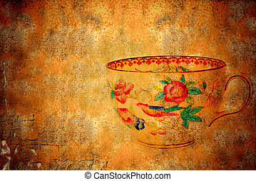 old cup of tea copy space - ancient teacup on grunge...