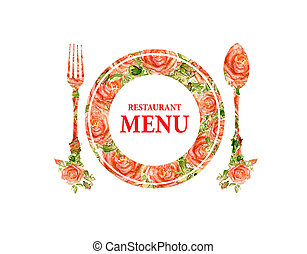 Restaurant menu design, knife, plate, fork Silhouette of...