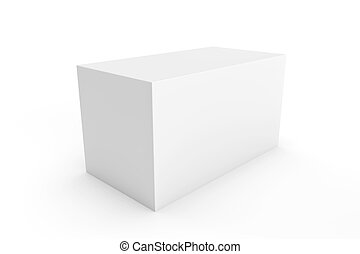 white rectangle box for packaging design on white background...