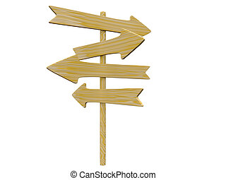 wooden signpost - empty isolated wooden signpost. 3d