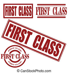 set first class grunge stamp whit on , vector illustration