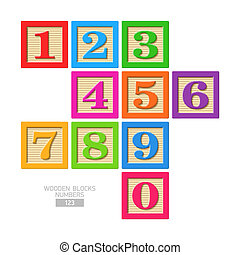 Wooden block numbers