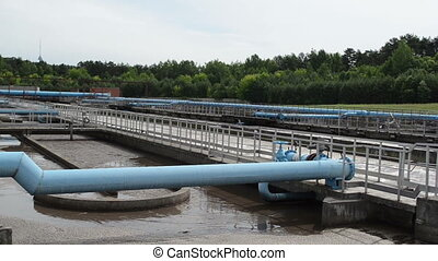 modern water treatment - Turn view of modern sewage waste...