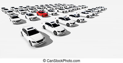Hundreds of Cars, One Red made in 3d software