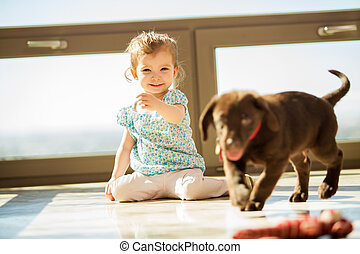 Playing fetch with my puppy - Cute little girl playing fetch...