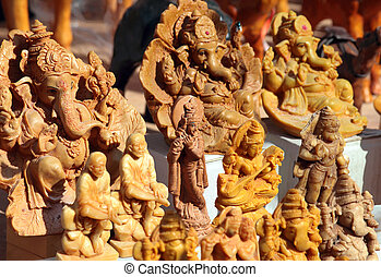 Indian souvenirs - statuettes of Hindu deities carved from...