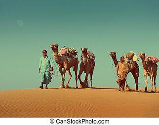 cameleers with camels in desert - vintage retro style -...