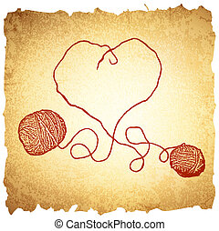 Knitting Vintage Heart - Two Red Clews in Heart Form At...