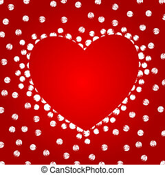 Abstract Heart Form Over Red Background, Copyspace