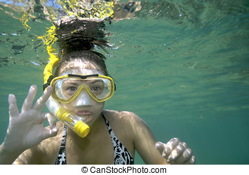 snorkeling - Woman crazy about snorkeling