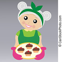 a merry grandmother prepares a delicious dessert, vector...
