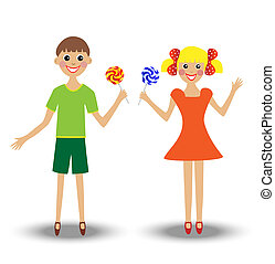 merry  girl and boy  with lollipop