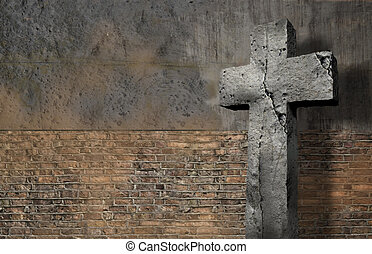 Old Wall With Cross