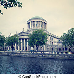 Four Courts building in Dublin, Ireland with Retro Effect