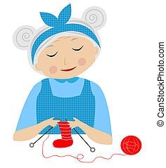 a merry grandmother binds socks,vector illustration