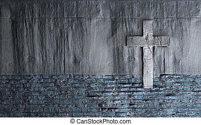 Old Wall With Cross made in 3d software